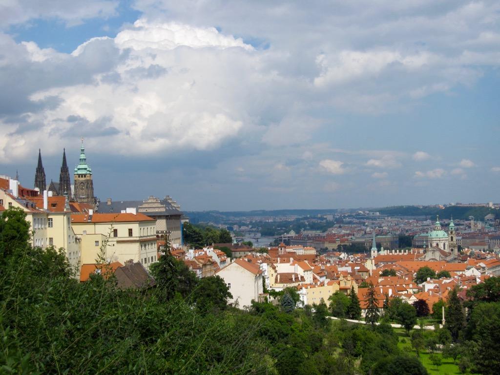 Prague castle from petrin park