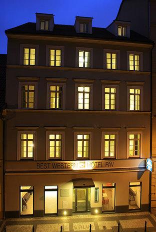 Hotel Pav Prague exterior at night