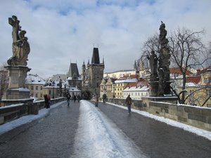 Charles Bridge with a little snow