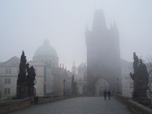 charles bridge foggy weather
