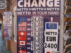 Czech currency exchange board