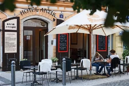 Antik Hotel Prague exterior from street
