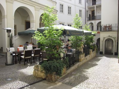 Interior courtyard Iron Gate Hotel Prague