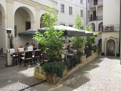 Interior courtyard Iron Gate Hotel Prague