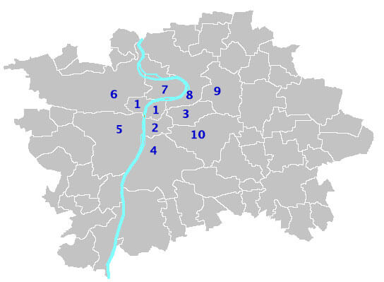 Map of Prague districts