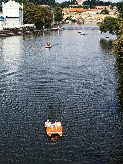 Vltava River with pedal boats