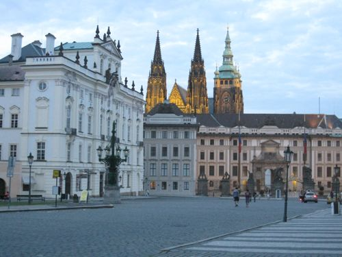 Prague castle from Hradcanske namesti