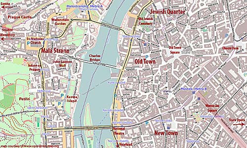 Main Prague Attractions and Sights – Tourist Map of Prague