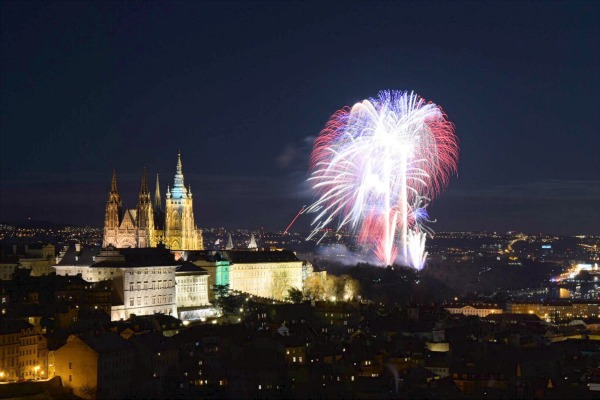 New year fireworks in Prague