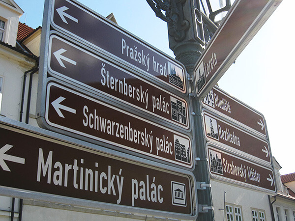 Directional Prague tourist signs