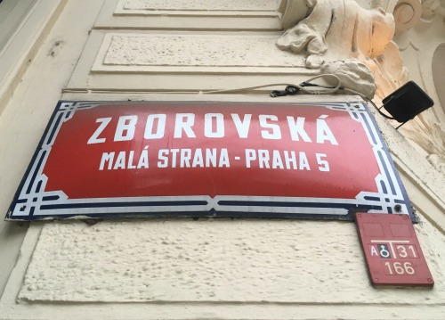 Prague street sign Zborovska