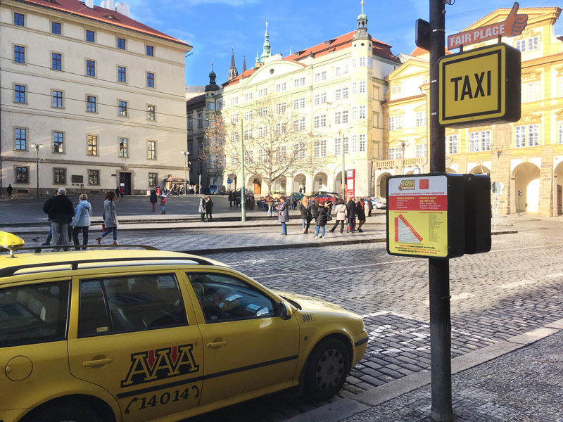 Prague taxi at taxi stand in Mala Strana