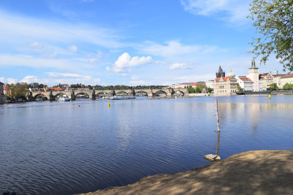One of the best views in Prague from the beach area on Shooter's Island.