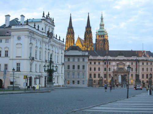 Prague castle from Hradcanske namesti